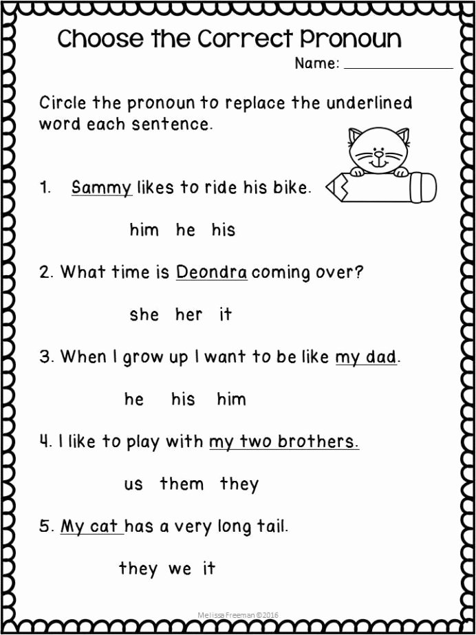 Personal Pronouns Worksheets for Preschoolers Unique Pronouns Worksheets Pronoun 2nd Grade Reading Learning