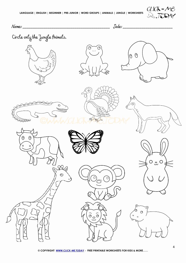 Pet Animals Worksheets for Preschoolers Lovely Jungle Animals Worksheet Activity Sheet Circle 4
