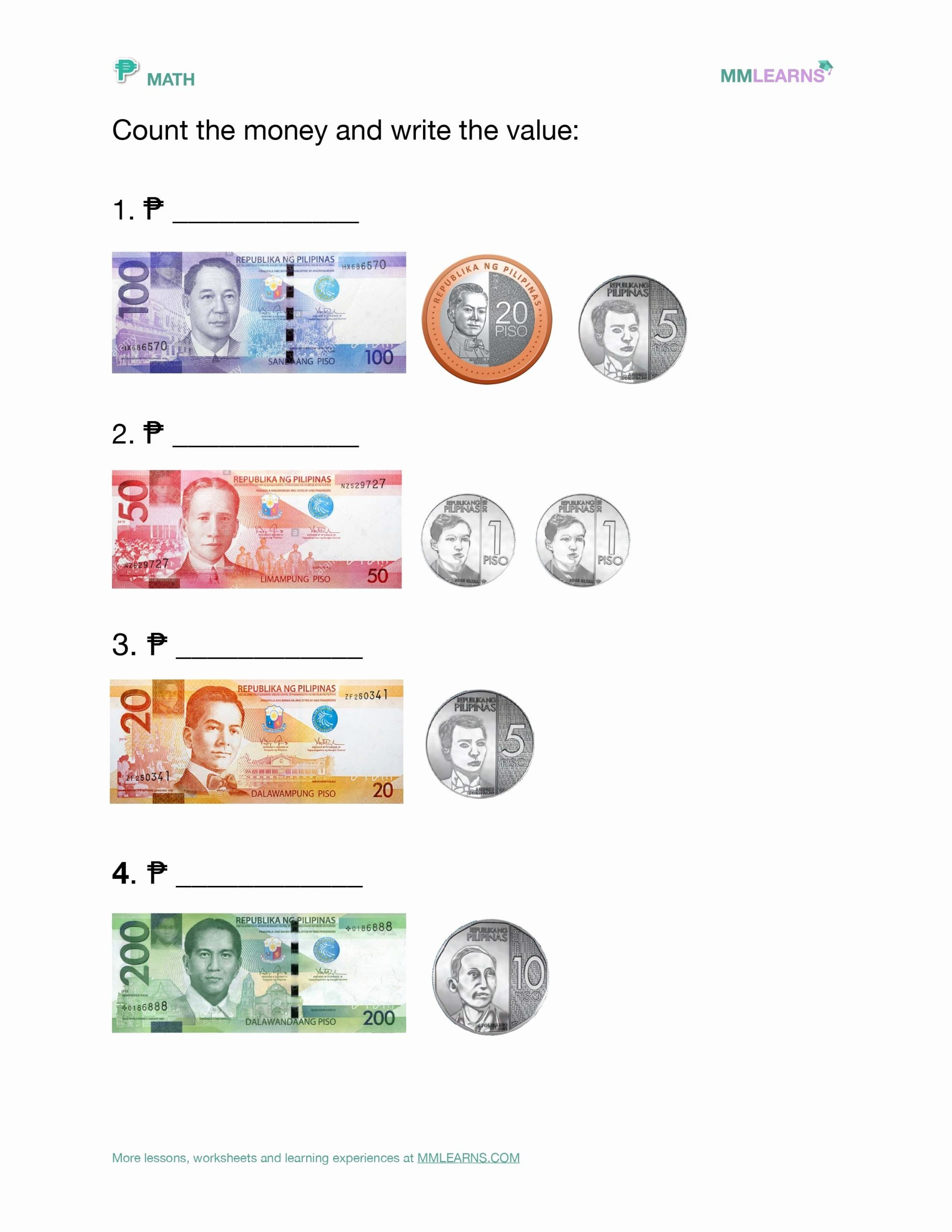 Philippine Money Worksheets for Preschoolers Beautiful Money and Philippine Currency Worksheet In 2020