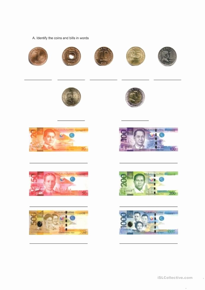 Philippine Money Worksheets for Preschoolers Beautiful Philippine Money English Esl Worksheets for Distance