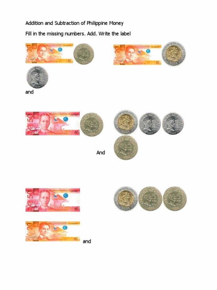 Philippine Money Worksheets for Preschoolers New Addition and Subtraction Philippine Money Coins Pesos