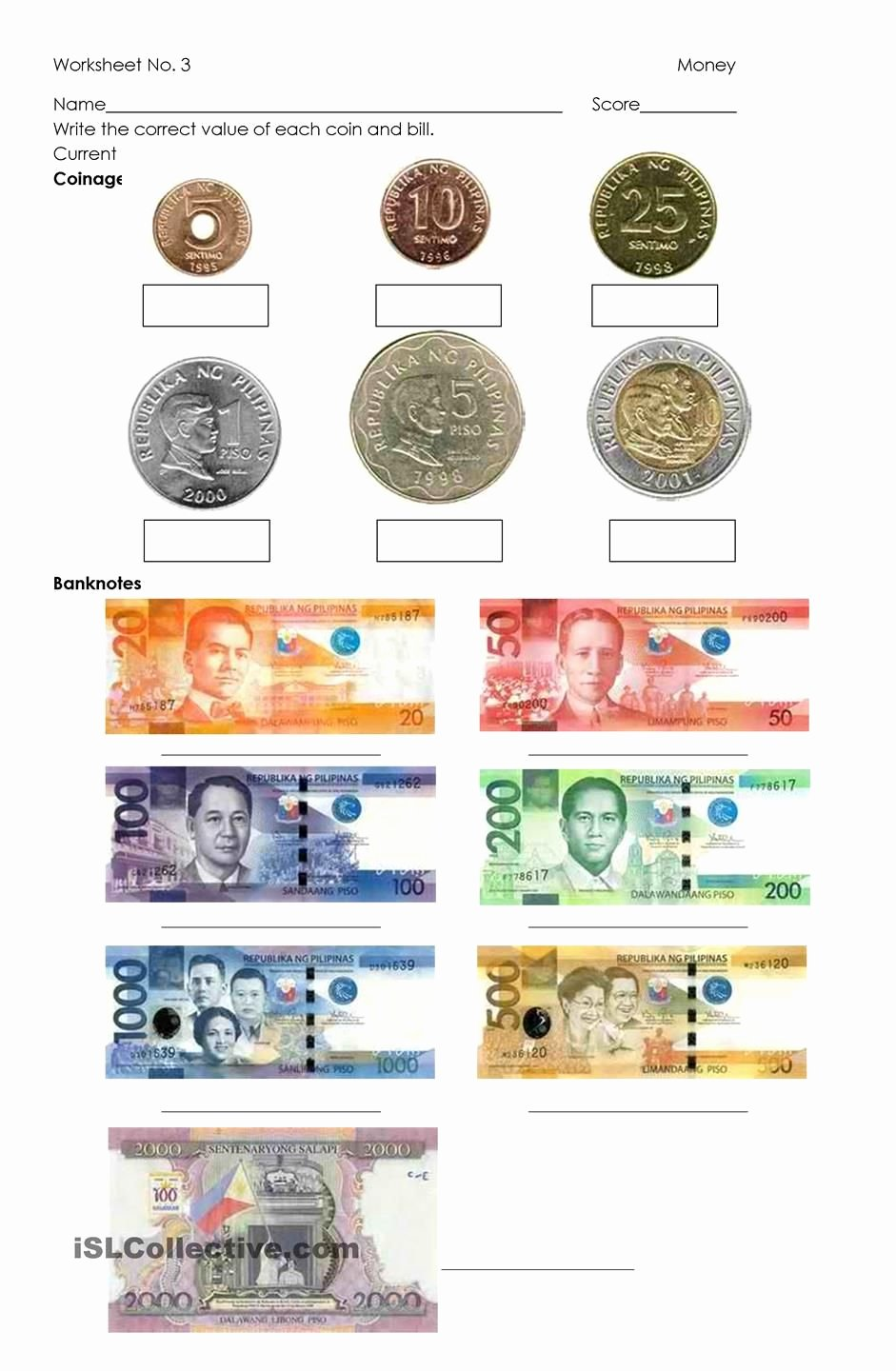 Philippine Money Worksheets for Preschoolers New Money Philippine Coins and Bills