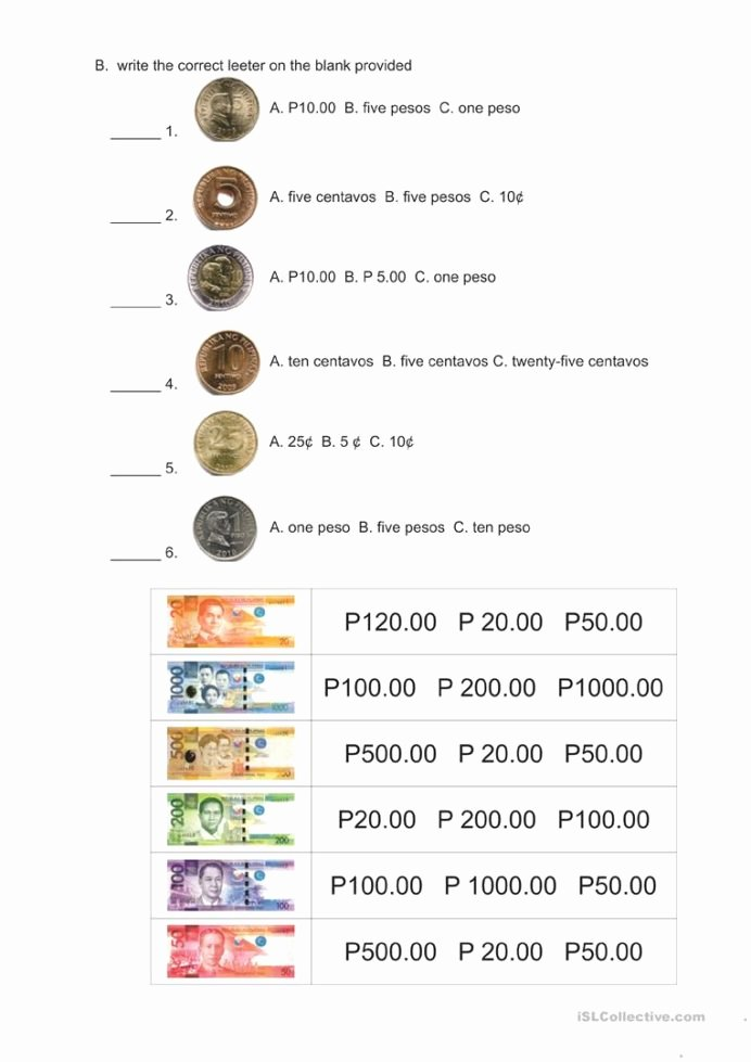 Philippine Money Worksheets for Preschoolers top Division Practice Questions Philippine Money Coins and Bills