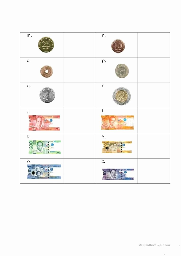 Philippine Money Worksheets for Preschoolers Unique Money Worksheet Philippines English Esl Worksheets for