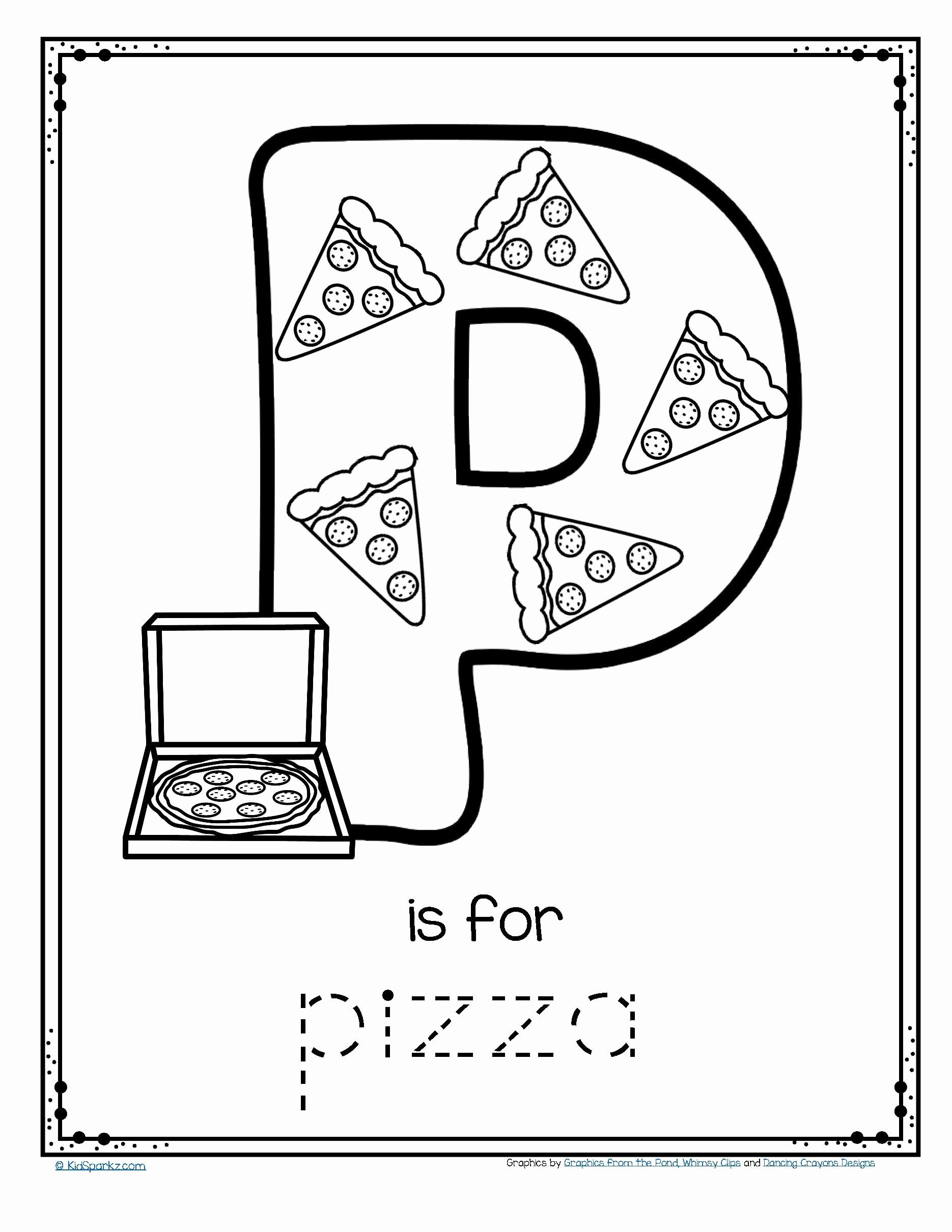Pizza Worksheets for Preschoolers Inspirational Worksheets Free is for Pizza Alphabet Trace and Color