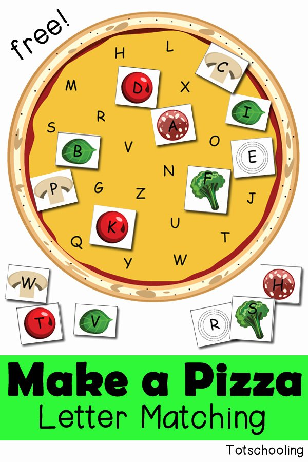 Pizza Worksheets for Preschoolers Lovely Make A Pizza Letter Matching Activity