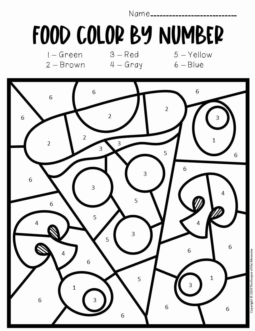 Pizza Worksheets for Preschoolers Unique Color by Number Food Preschool Worksheets Pizza the Keeper