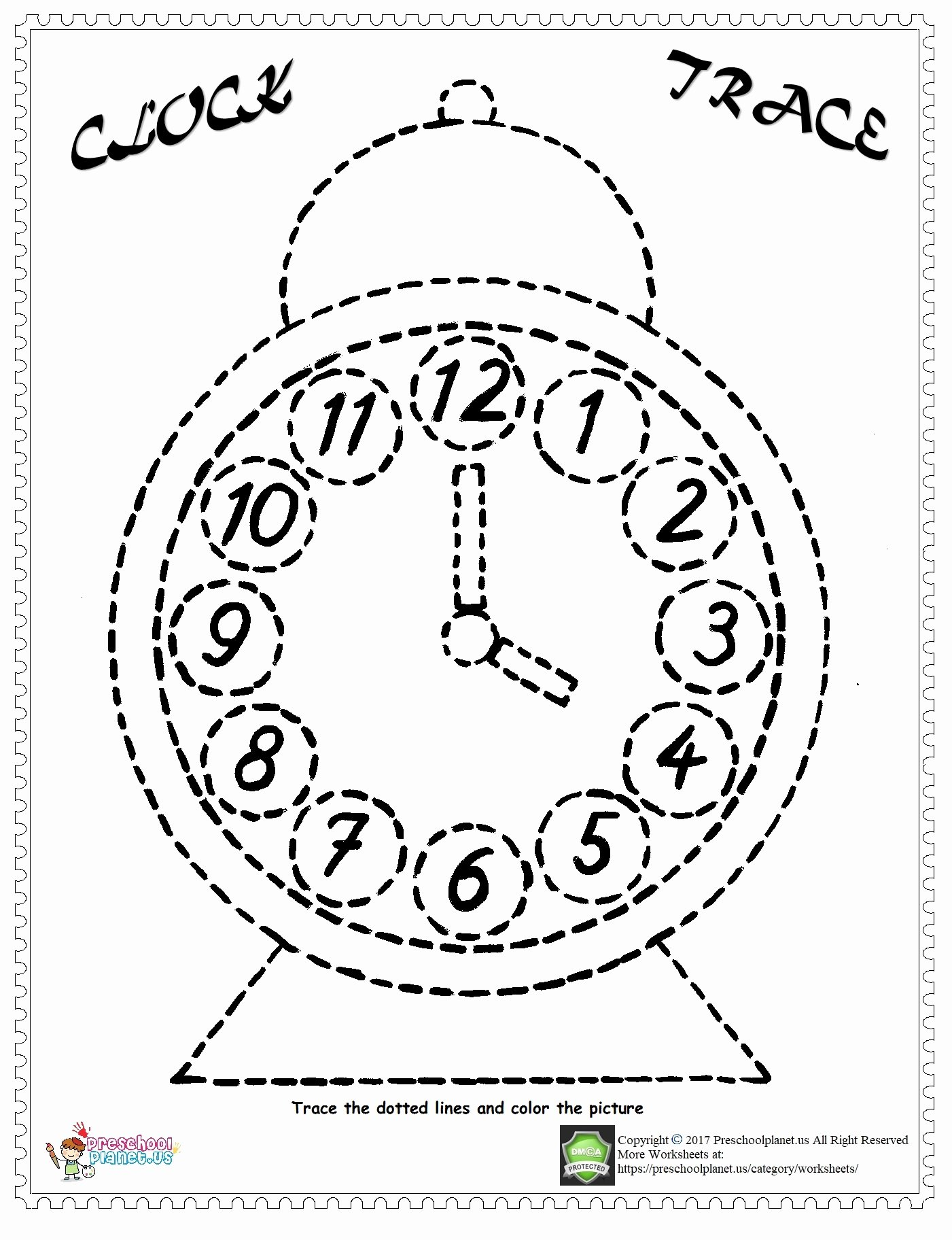 Planet Worksheets for Preschoolers Best Of Worksheets Clock Trace Line Worksheet Preschoolplanet