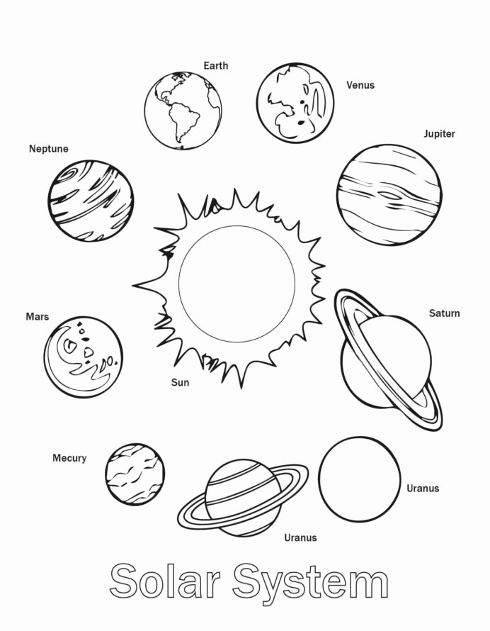 Planet Worksheets for Preschoolers Inspirational Free Printable solar System Coloring for Kids Planets