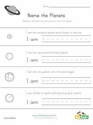 Planet Worksheets for Preschoolers New Name the Planets Worksheet