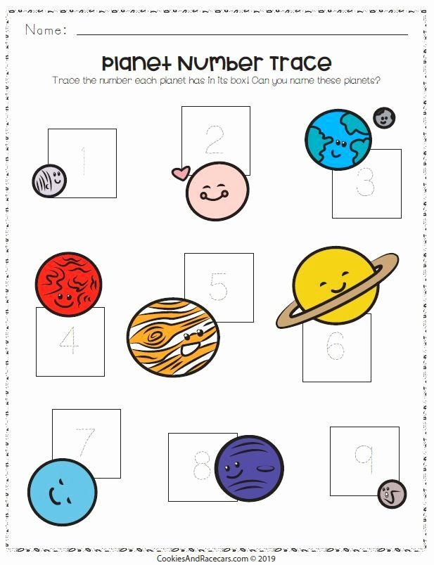 Planet Worksheets for Preschoolers Unique Trace the Numbers and Name the Planets On This Out Of This