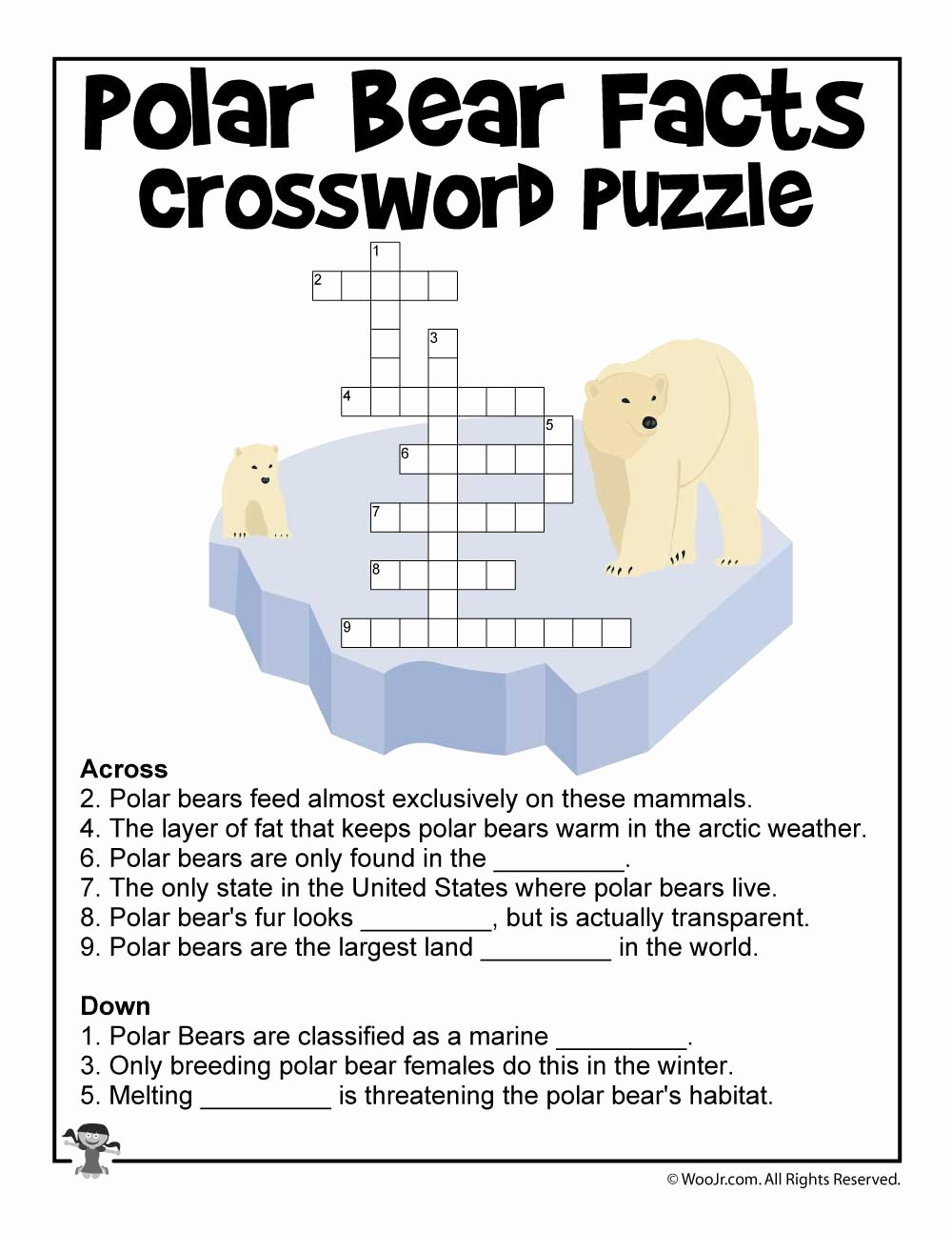 Polar Bear Worksheets for Preschoolers Inspirational Polar Bear Day Crossword Puzzle Worksheet