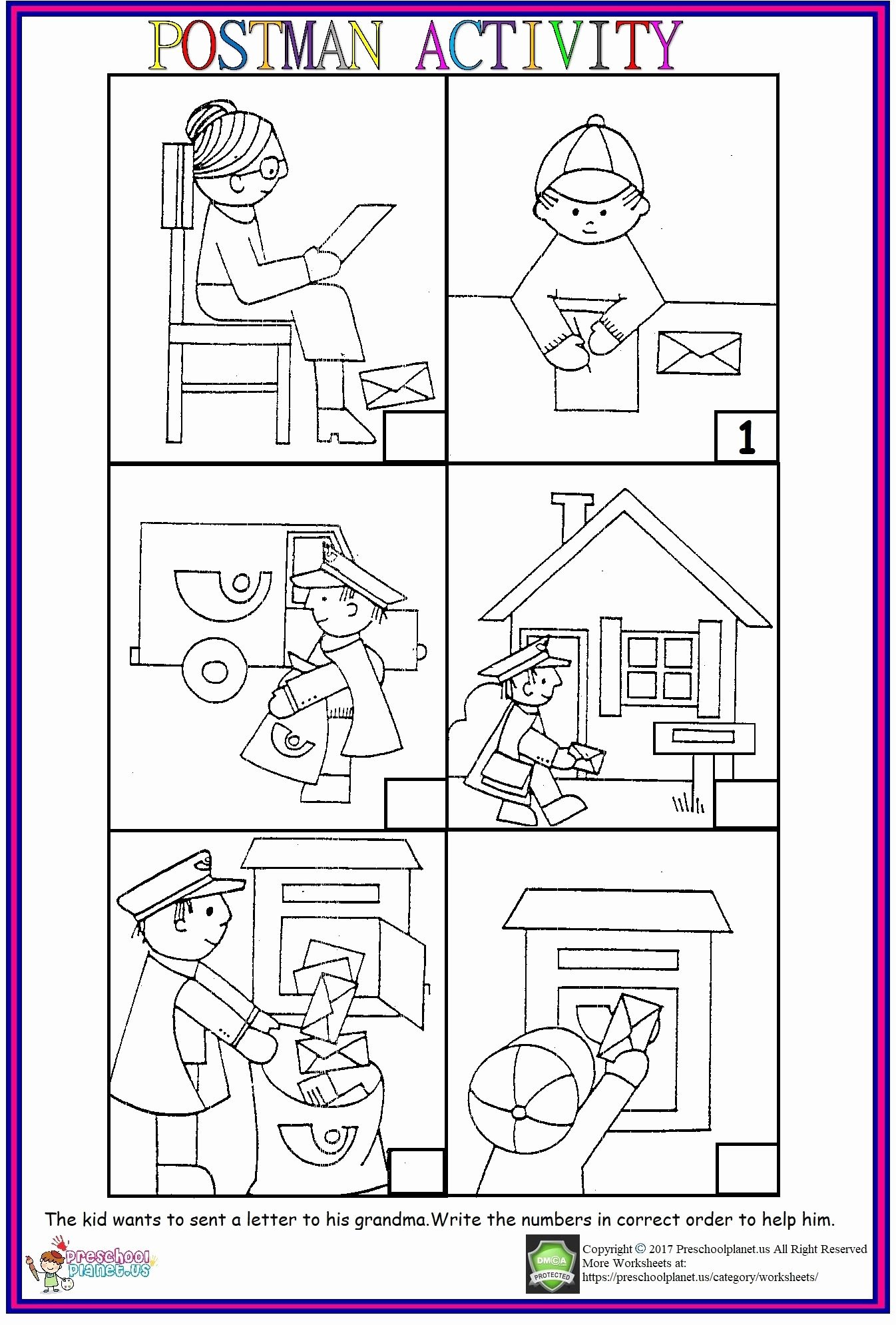Post Office Worksheets for Preschoolers top Postman Sequencing Worksheet