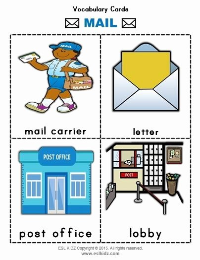 Post Office Worksheets for Preschoolers Unique Mail Vocabulary Flashcards