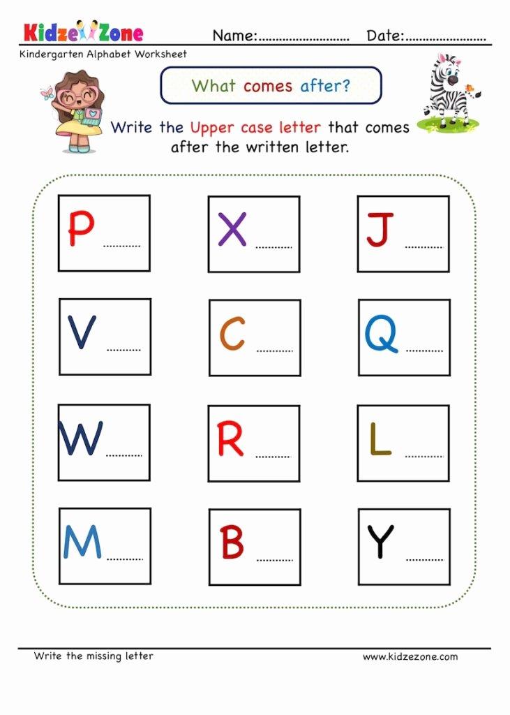 Practice Letter Worksheets for Preschoolers Beautiful Kindergarten Missing Letter Worksheet What Es after