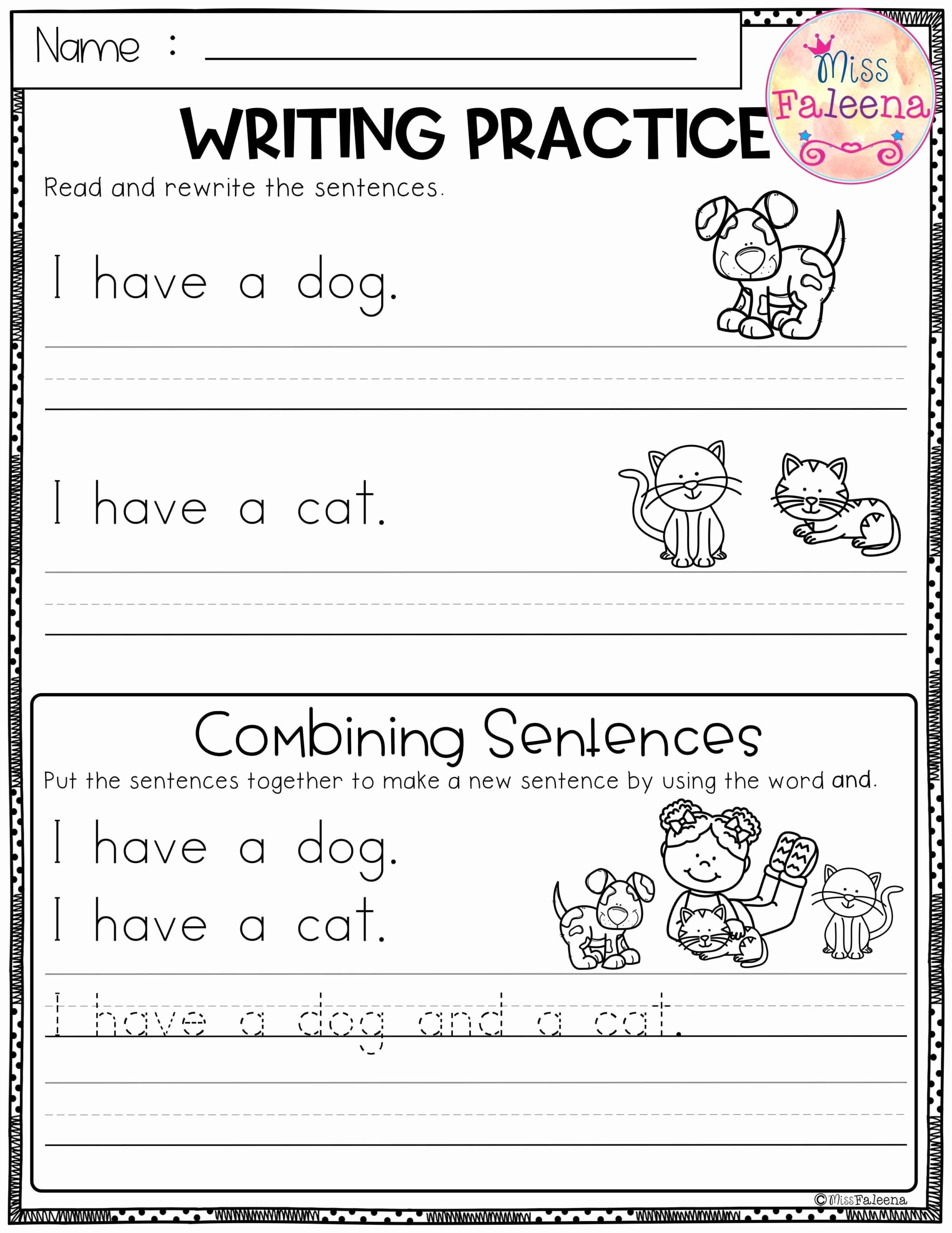 Practice Writing Worksheets for Preschoolers Inspirational Free Writing Practice Bining Sentences Sentence