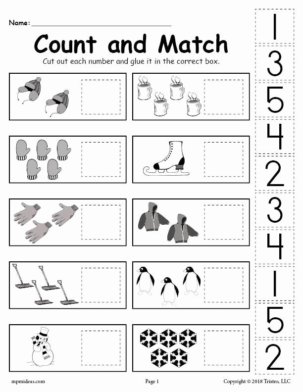 Pre K Printable Cutting Worksheets for Preschoolers top Printable Winter Counting and Matching Cut Paste Worksheet