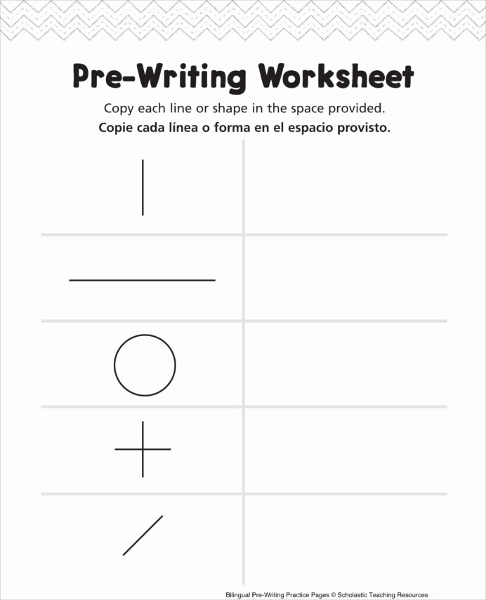 Pre Writing Worksheets for Preschoolers Fresh Pre Writing Worksheet Bilingual Practice Handwriting Shapes
