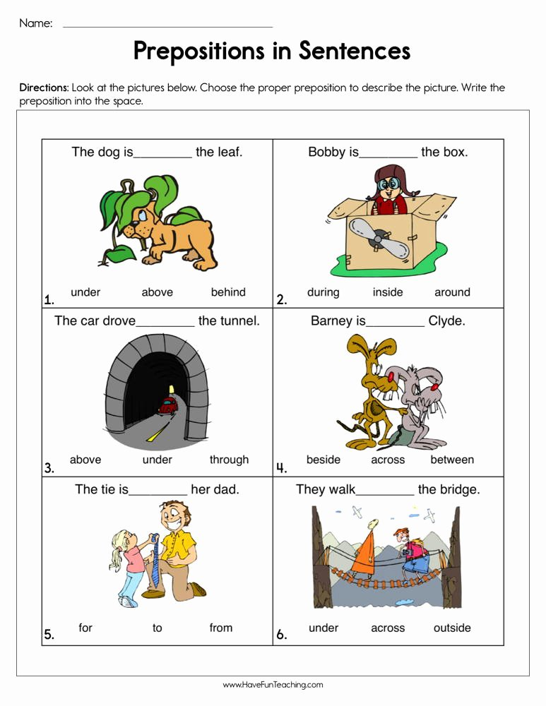 Preposition Worksheets for Preschoolers Awesome Prepositions In Sentences Worksheet