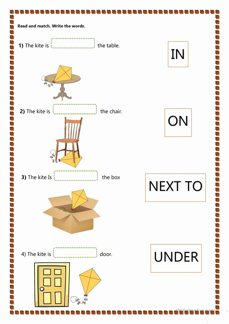 Preposition Worksheets for Preschoolers Beautiful Prepositions Of Place Kids English Esl Worksheets for