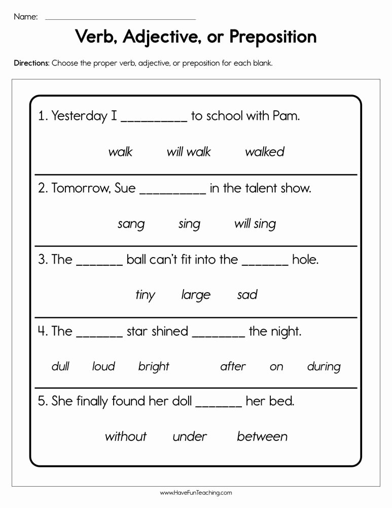 Preposition Worksheets for Preschoolers top Verb Adjective or Preposition Worksheet