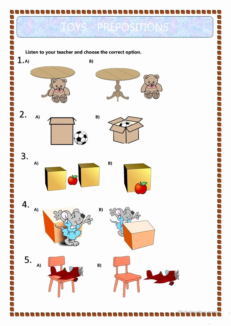 Preposition Worksheets for Preschoolers Unique Prepositions Of Place Kids English Esl Worksheets for