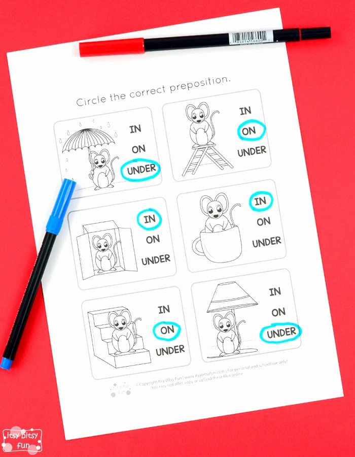 Preposition Worksheets for Preschoolers Unique Prepositions Worksheets Itsybitsyfun