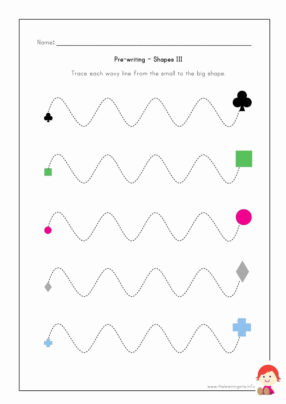 Prewriting Worksheets for Preschoolers New the Learning Site Pre Writing Worksheets Shapes