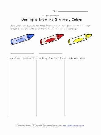 Primary Colors Worksheets for Preschoolers Beautiful Primary Colors Worksheet