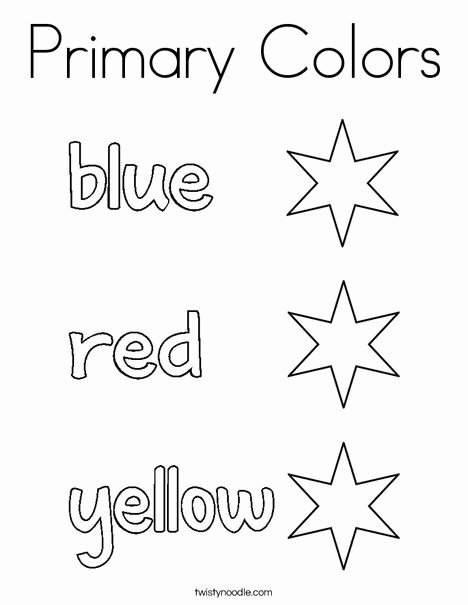 Primary Colors Worksheets for Preschoolers Lovely Primary Colors Coloring Page Twisty Noodle