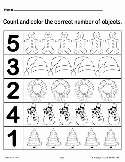 "Printable Christmas Worksheets for Preschoolers Awesome Christmas themed ""count and Color"" Worksheets 3 Printable"