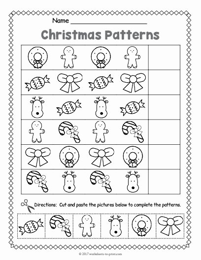 Printable Christmas Worksheets for Preschoolers Fresh Free Printable Christmas Pattern Worksheet