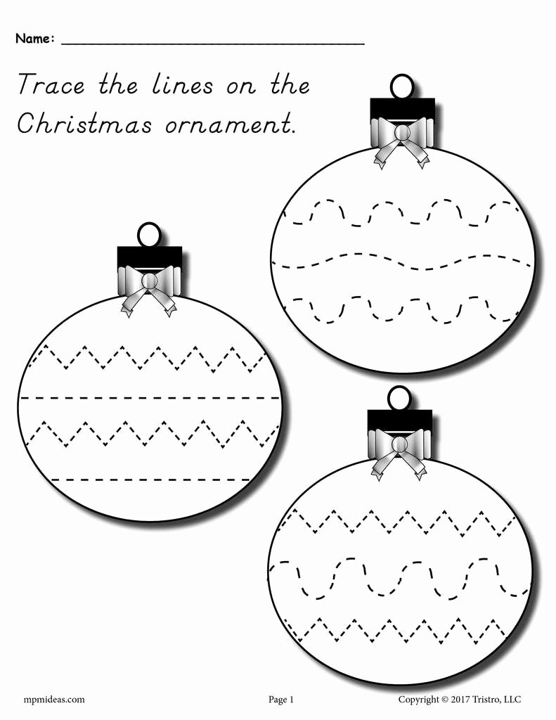 Printable Christmas Worksheets for Preschoolers Fresh Printable Christmas ornament Line Tracing Worksheet