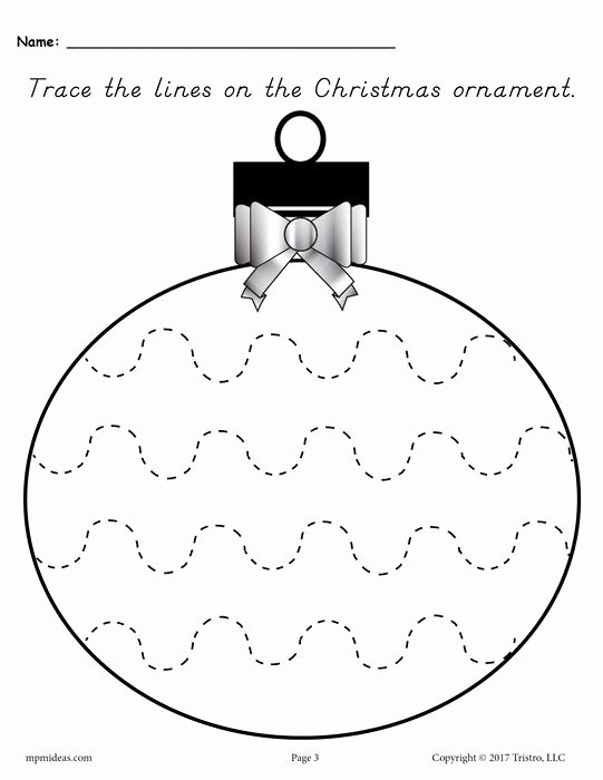 Printable Christmas Worksheets for Preschoolers Fresh Printable Christmas ornament Line Tracing Worksheets