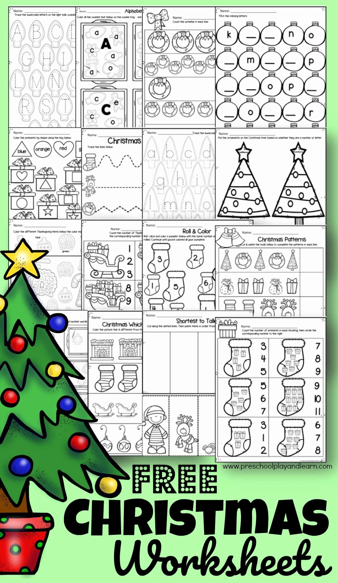 Printable Christmas Worksheets for Preschoolers Inspirational Free Christmas Worksheets for Preschoolers