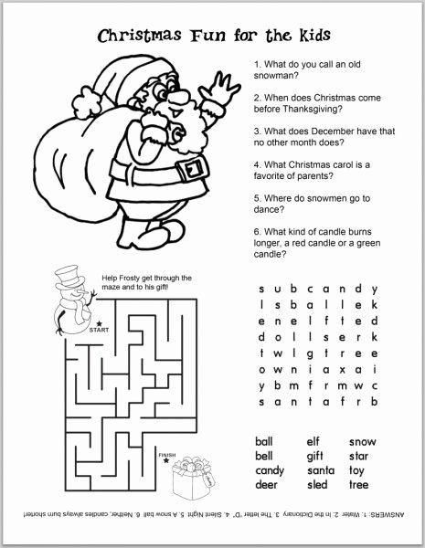 Printable Christmas Worksheets for Preschoolers Unique Free Christmas Kids Activity Sheets and Coloring Sheets