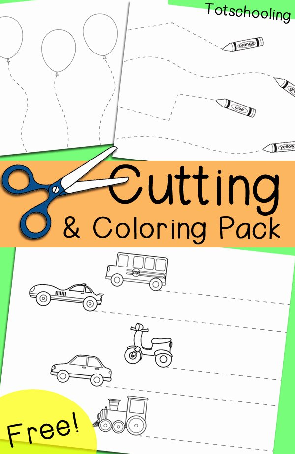Printable Cutting Worksheets for Preschoolers New Free Cutting & Coloring Pack