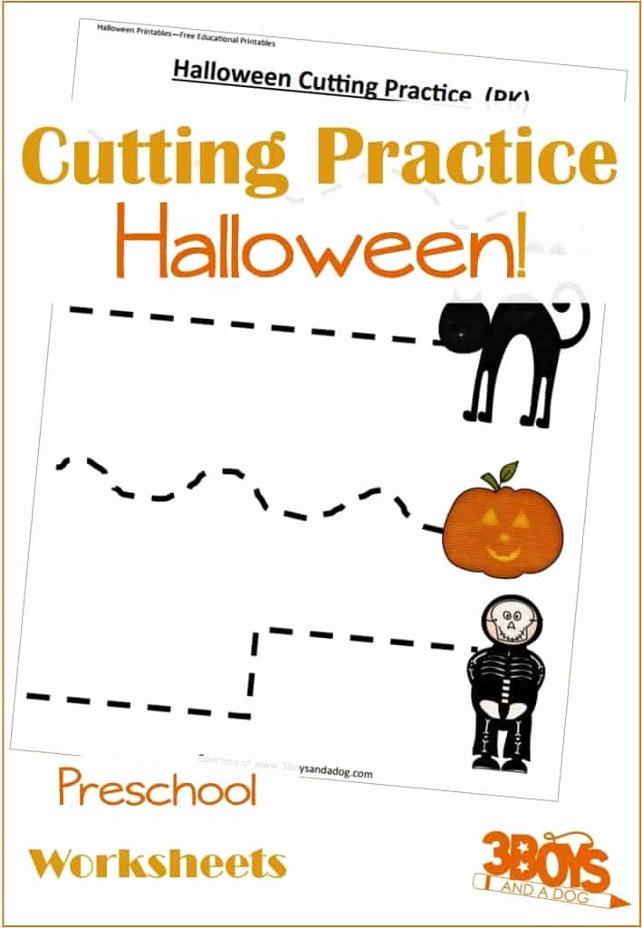 Printable Cutting Worksheets for Preschoolers top Halloween Cutting Activities