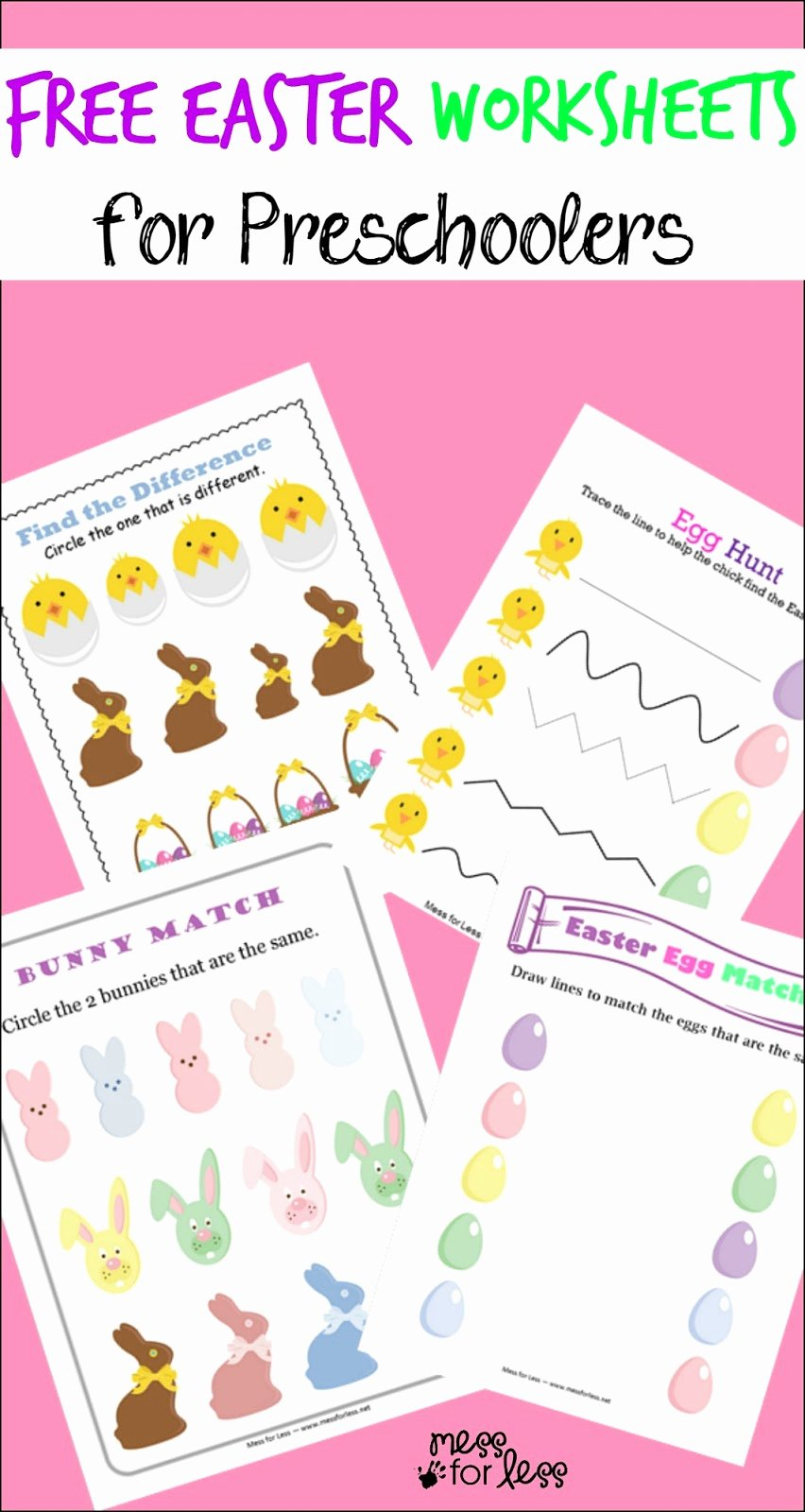 Printable Easter Worksheets for Preschoolers Beautiful Free Easter Preschool Worksheets Mess for Less