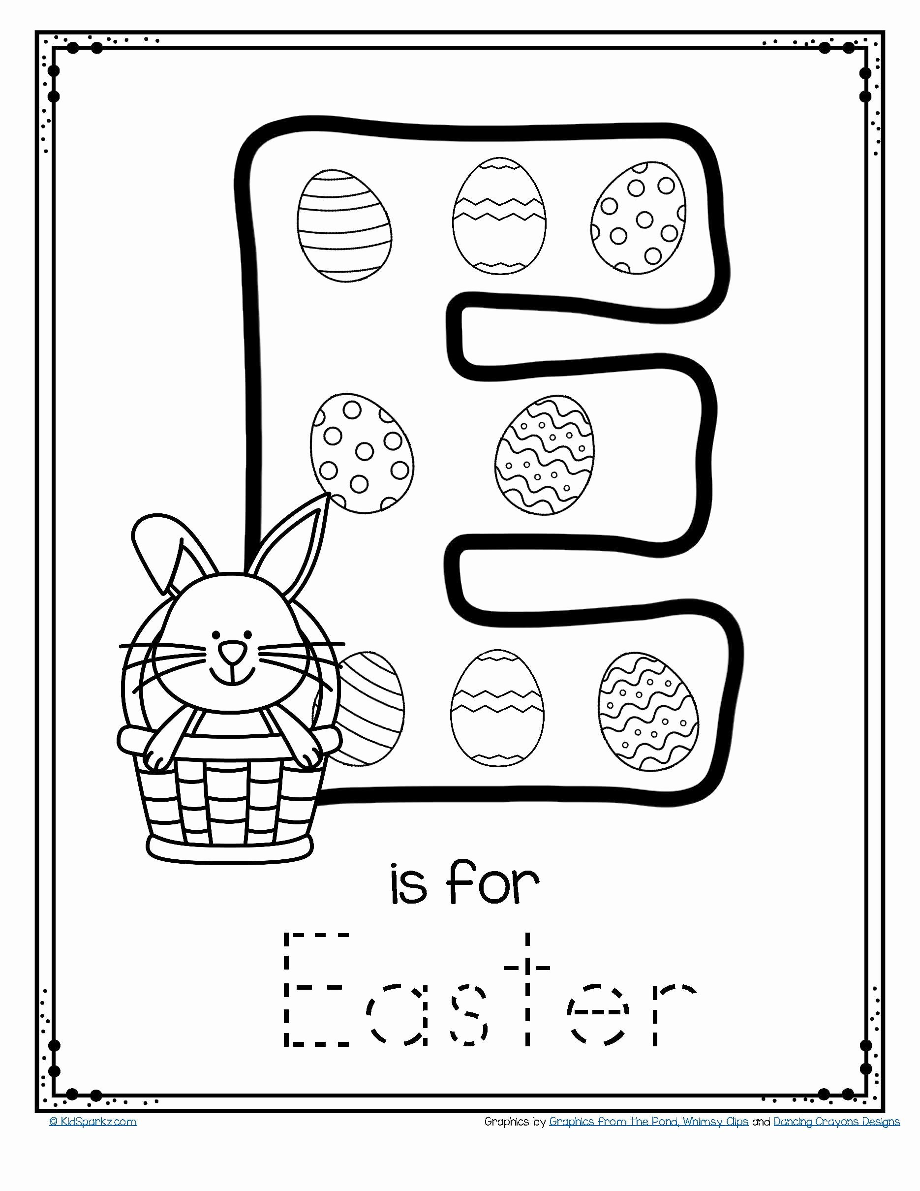 Printable Easter Worksheets for Preschoolers Fresh Letter E is for Easter Trace and Color Printable Free