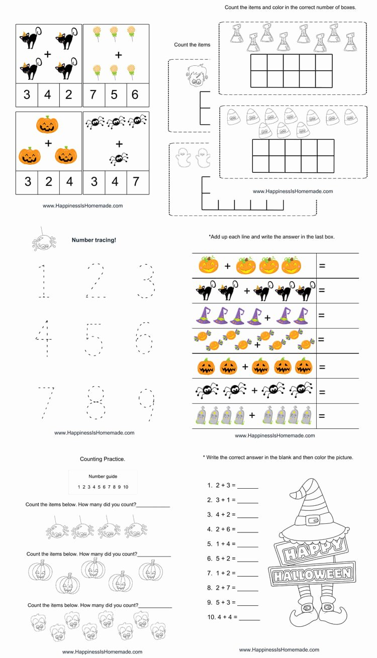 Printable Halloween Worksheets for Preschoolers Fresh Kindergarten Halloween Math Pack Happiness is Homemade