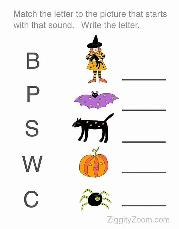Printable Halloween Worksheets for Preschoolers Inspirational Halloween Worksheet for Preschoolers Match the Letter to