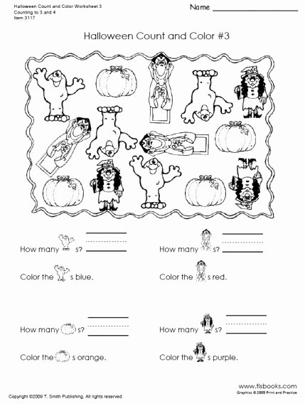 Printable Halloween Worksheets for Preschoolers Lovely Halloween Count and Color Worksheets Fun Elementary