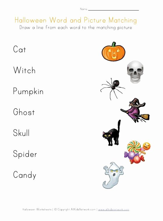 Printable Halloween Worksheets for Preschoolers Unique Halloween Word Matching Printable Worksheets