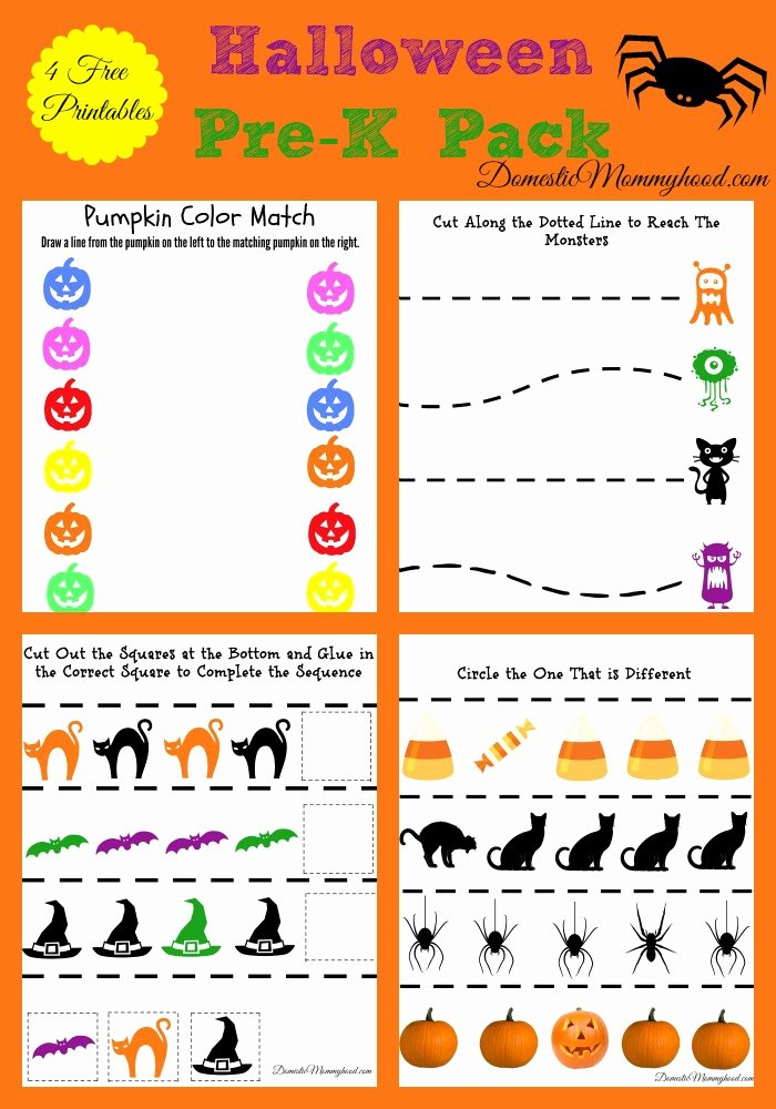 Printable Halloween Worksheets for Preschoolers Unique Worksheet Free Pre K Halloween Pack Printable Domestic