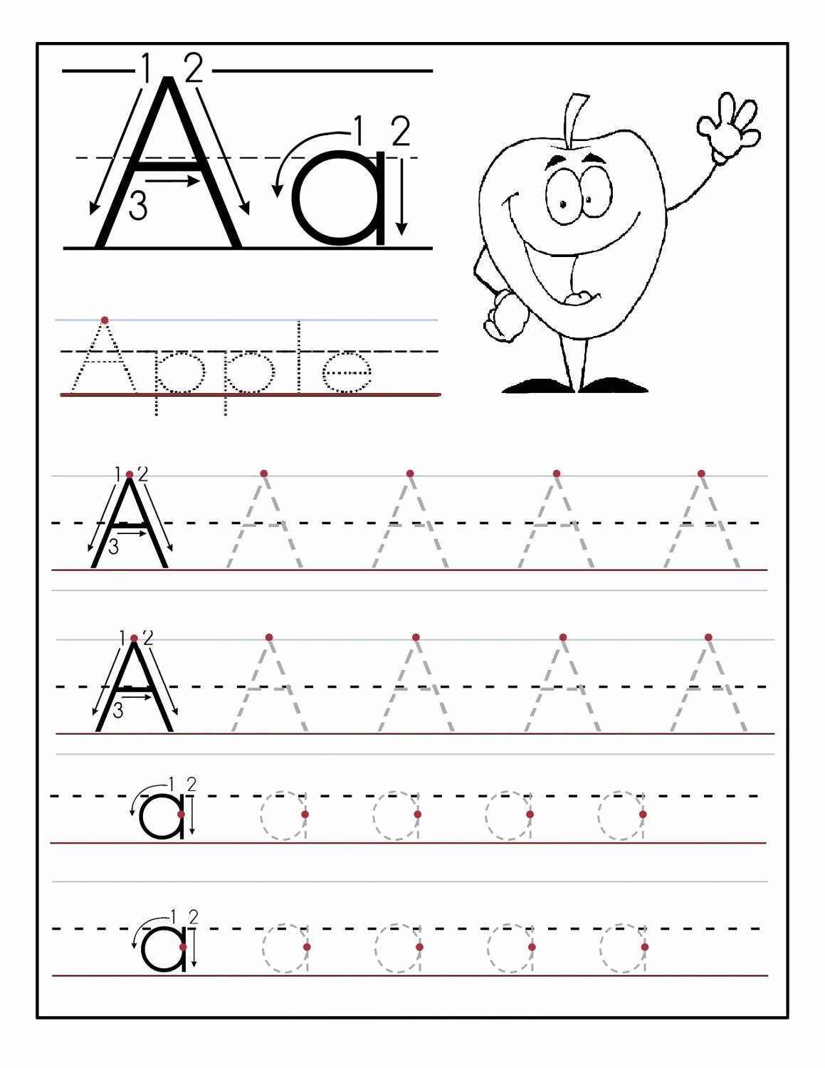 Printable Letter A Worksheets for Preschoolers Inspirational Trace Letter A Sheets to Print