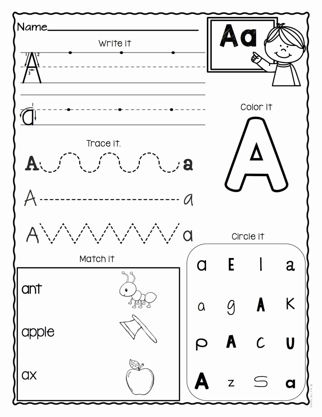 Printable Letter A Worksheets for Preschoolers top Worksheet Worksheetool Letter Worksheets Z Set for Free