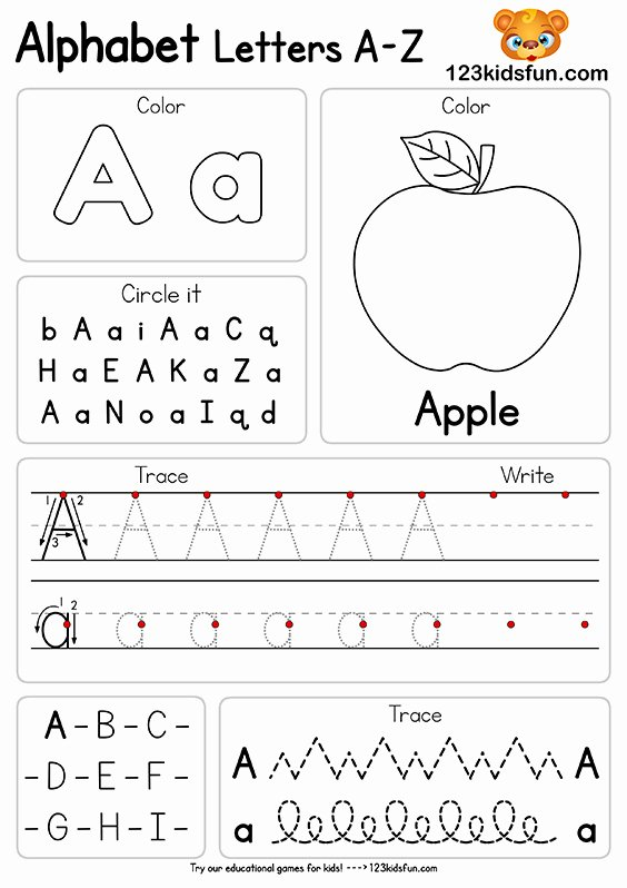 Printable Letter Worksheets for Preschoolers top Free Alphabet Practice A Z Letter Worksheets