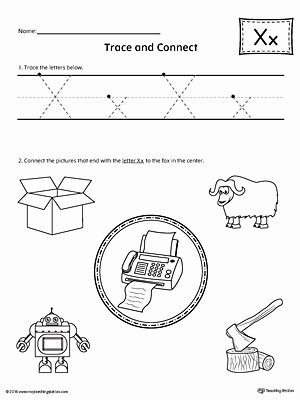 Printable Letter X Worksheets for Preschoolers Inspirational Trace Letter X and Connect Worksheet