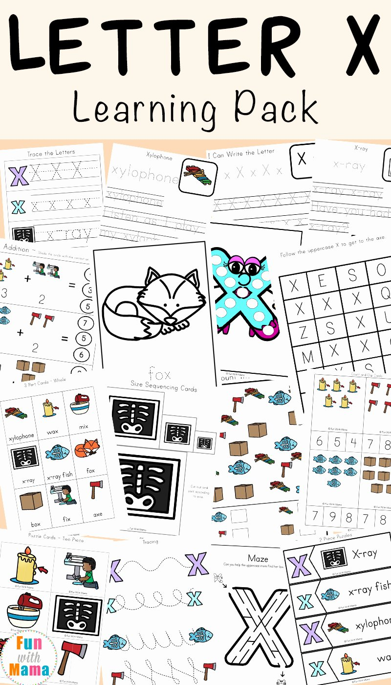 Printable Letter X Worksheets for Preschoolers top Letter X Worksheets for Preschool Kindergarten Fun with Mama